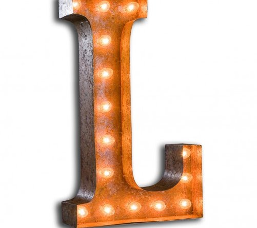 large l metal light up circus letter 11 warm white bulbs